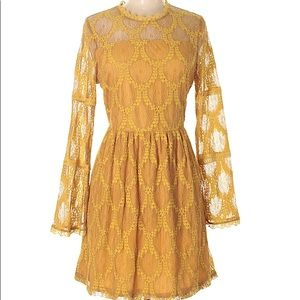 Lace Mustard Bell Sleeve Dress
